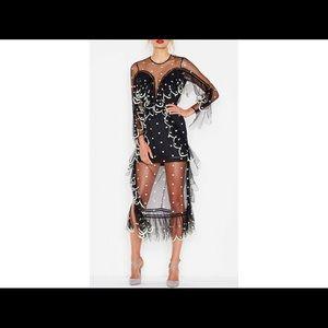 Dresses & Skirts - Black Polka Dot Sheer Ruffle Dress